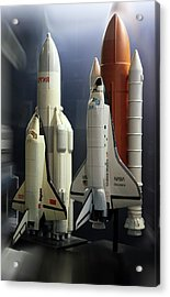 Space Shuttle And Buran Spacecrafts Acrylic Print by Detlev Van Ravenswaay