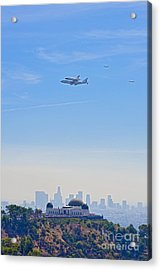 Space Shuttle Endeavour And Chase Planes Over The Griffith Observatory Acrylic Print
