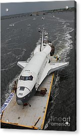 Space Shuttle Enterprise Is Barged To The Intrepid Air And Space Museum Acrylic Print by Steven Spak