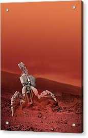 Space Vehicle On A Planet Acrylic Print by Victor Habbick Visions