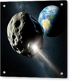 Spacecraft Colliding With Asteroid Acrylic Print by Detlev Van Ravenswaay