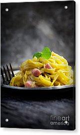 Spaghetti Carbonara Acrylic Print by Mythja  Photography