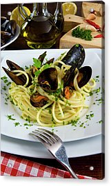 Spaghetti With Mussels (mytilus Acrylic Print