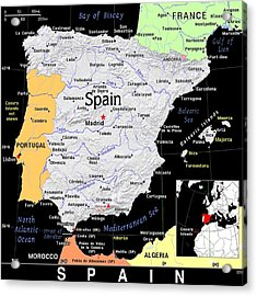 Spain Exotic Map Acrylic Print
