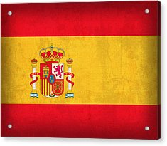 Spain Flag Vintage Distressed Finish Acrylic Print