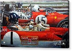 Spain Gp 1969  Lotus 49 Hill  Ferrari 312 Amon  Lotus 49b Rindt  Acrylic Print