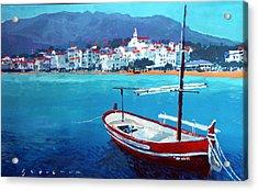 Spain Series 08 Cadaques Red Boat Acrylic Print by Yuriy Shevchuk