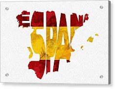 Spain Typographic Map Flag Acrylic Print by Ayse Deniz