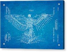 Spalding Flying Machine Patent Art  3 1889 Blueprint Acrylic Print by Ian Monk
