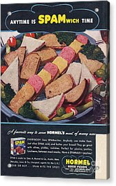 Spam 1950s Usa Hormel Meat Tinned Acrylic Print by The Advertising Archives