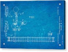 Spang Railway Signal Patent Art 1875 Blueprint Acrylic Print