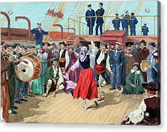 Spanish Emigrants On Board A Ship Acrylic Print by Prisma Archivo