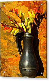 Spanish Flags In Pewter  Acrylic Print by Chris Berry
