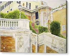 Acrylic Print featuring the painting Spanish Steps by Carol Flagg