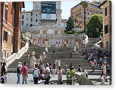 Spanish Steps With People Acrylic Print by Pejft