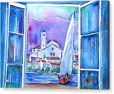 Spanish Window In Cadaques And The Church Of Santa Maria Acrylic Print by Trudi Doyle