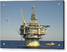 Spar Type Oil Rig With Flare And Boat Acrylic Print