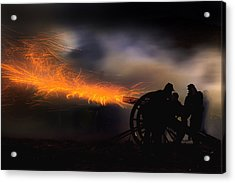 Spark Trails From Cannon Howitzer Blast Acrylic Print by Robert Jensen