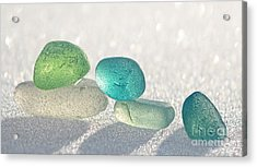 Sparkling Sea Glass Friends Acrylic Print by Barbara McMahon