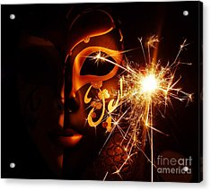 Sparklings Of Venetian Mask Acrylic Print by AmaS Art
