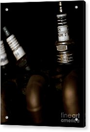 Sparkplugs On A Vintage Motorcycle Acrylic Print by Wilma  Birdwell