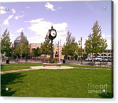 Acrylic Print featuring the photograph Sparks Community Clock by Bobbee Rickard