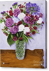 Special Bouquet In Crystal Vase On Heirloom Table Acrylic Print by Gail Darnell