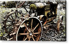 Speckled Antique Tractor Acrylic Print by Michael Spano