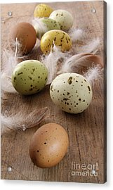 Speckled Easter Eggs  On Wooden Table  Acrylic Print by Sandra Cunningham