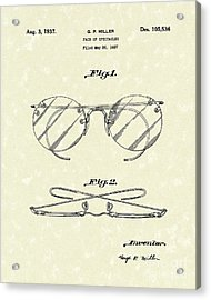 Spectacles 1937 Patent Art Acrylic Print