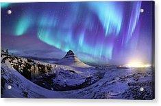 Spectacular Northern Lights Appear Over Mount Kirk Acrylic Print by Ratnakorn Piyasirisorost