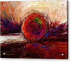 Speed - Dramatic Red And  Purple Abstract Print On Canvas Acrylic Print by Kanayo Ede