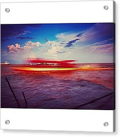 Speed Boat Passing The Floating Village Acrylic Print