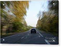 Speeding Car On Highway Acrylic Print
