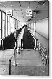 Speedwalk Conveyors At Sfo Acrylic Print by Underwood Archives
