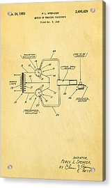 Spencer Microwave Patent Art 1950  Acrylic Print by Ian Monk