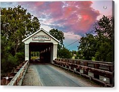 Spencerville Covered Bridge At Sunset Acrylic Print