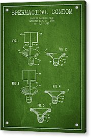 Spermacidal Condom Patent From 1986 - Green Acrylic Print by Aged Pixel