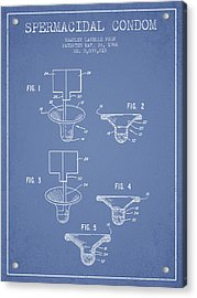 Spermacidal Condom Patent From 1986 - Light Blue Acrylic Print by Aged Pixel