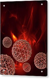 Spheres On Red Background Acrylic Print