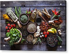Spices And Herbs On Rustic Wood Kitchen Table Acrylic Print by Fcafotodigital