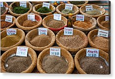 Spices For Sale In A Weekly Market Acrylic Print by Panoramic Images