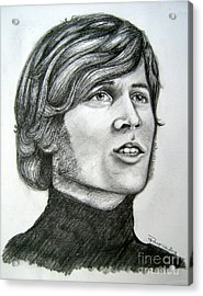 Acrylic Print featuring the drawing  A Young Barry Gibb by Patrice Torrillo