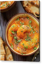 Spicy Red Curry Soup With Shrimp And Acrylic Print by Lauripatterson