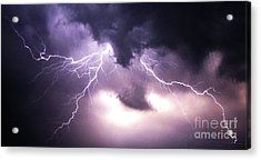 Spider Lightening Acrylic Print by Angela Wright