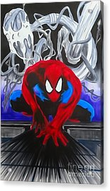 Spider-man Watercolor Acrylic Print by Justin Moore