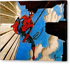 Spiderman Acrylic Print by Artistic Indian Nurse