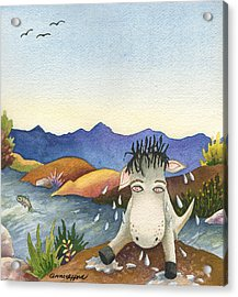 Spike Isn't Much Of A Swimmer Acrylic Print by Anne Gifford