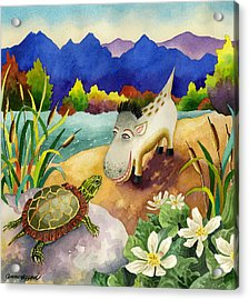 Spike The Dhog Comes Nose To Nose With A Painted Turtle Acrylic Print by Anne Gifford
