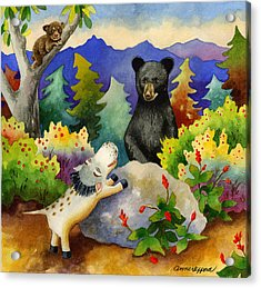 Spike The Dhog Encounters A Mother Bear In The Forest Acrylic Print by Anne Gifford